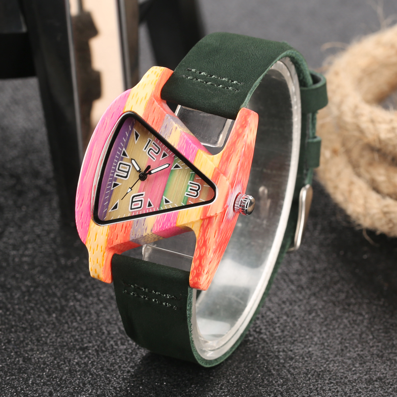 Unique Design Triangle Shape Dial Bamboo Wood Watches Women Green/Red Leather Band Quartz Ladies Wrist Watch Wooden Clock Gifts