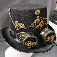 15CM Retro Punk Unisex Party Black Hat Vintage Steampunk Gear Gothic Goggles Top Hats Fedora Hats Halloween Lolita Cosplay Hats