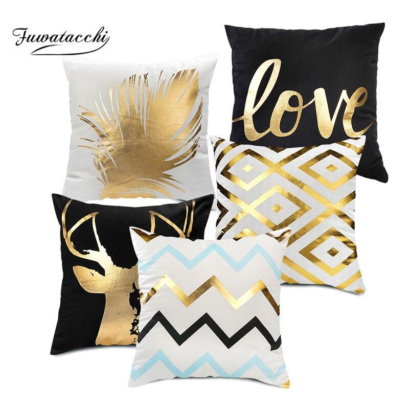 Fuwatacchi housse de coussin de noël décoratif noir feuille d'or mots de cerf taie d'oreiller maison chaise canapé feuille lèvres taie d'oreiller 45*45