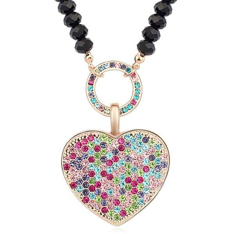 SHDEDE Colares Pingentes de Coração Colorido de Cristal de Cadeia Longa Camisola Mulheres Do Vintage Cristal Strass Jóia Do Casamento-15539