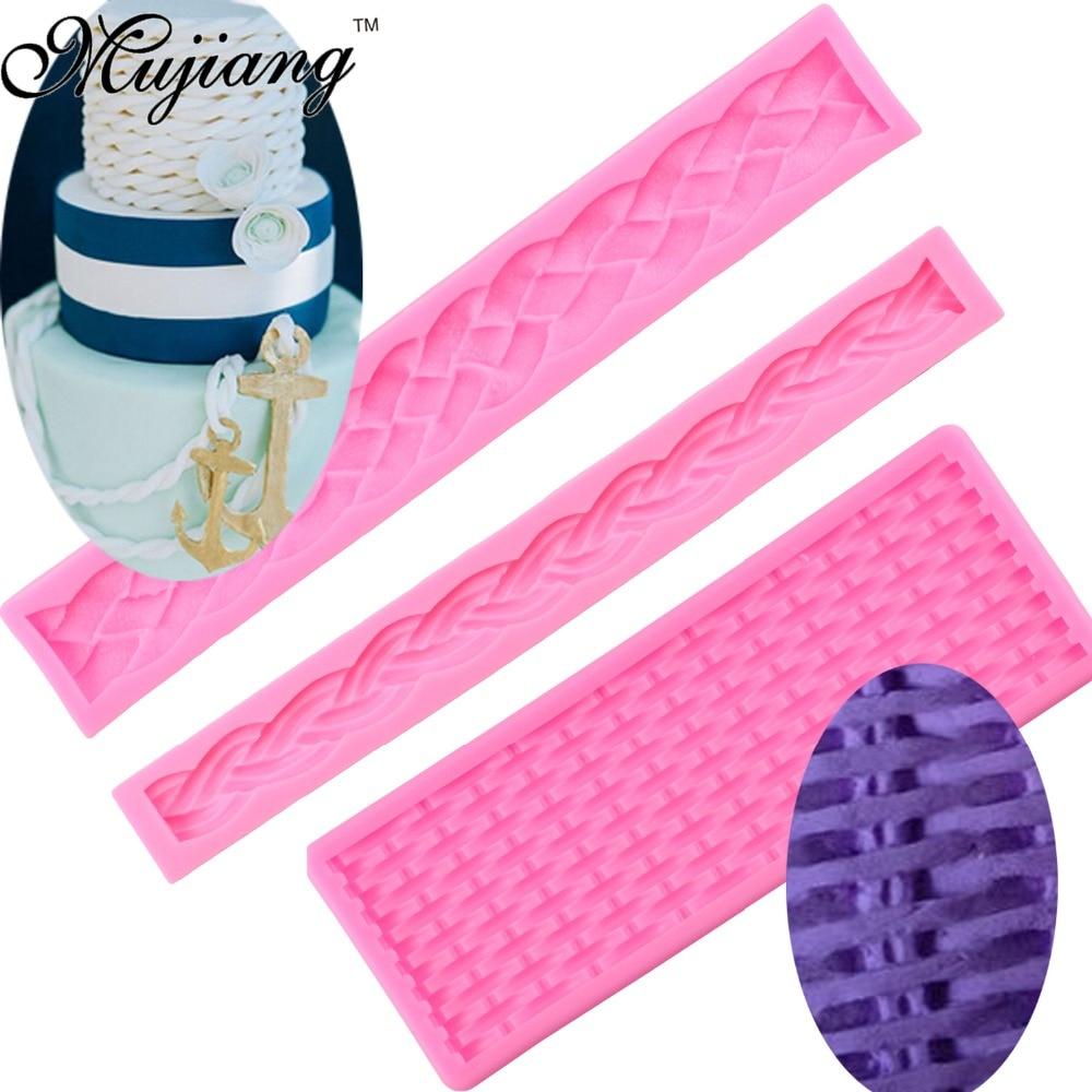 Ротанговая плетеная ткань, текстура, длинная веревка, 3D кайма для торта, силиконовая форма, форма для шоколада инструменты для украшения тор...