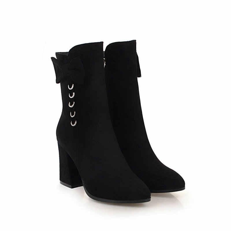 NEMAONE kadın bowties yarım çizmeler süper kalın Yüksek Topuk Bayan Botları Kış Kadın Ayakkabı bej kahverengi Siyah Artı Boyutu 43