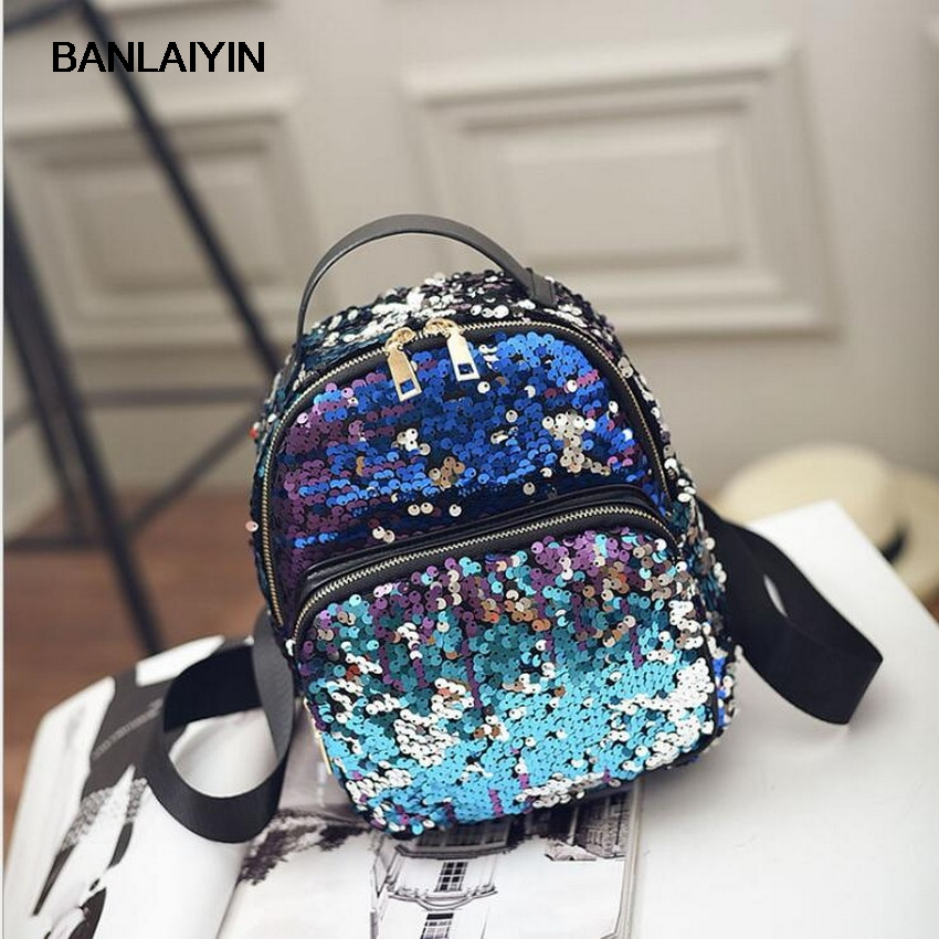 Sequins Design Women Mini PU Leather Backpack High Quality School Bags For Teenagers Girls Travel Backpack