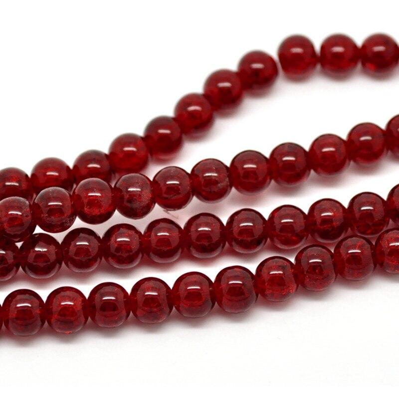 300 Pcs Red Rodada Crackle de Vidro Spacer Beads Apreciação Jóias DIY 8mm de Diâmetro.