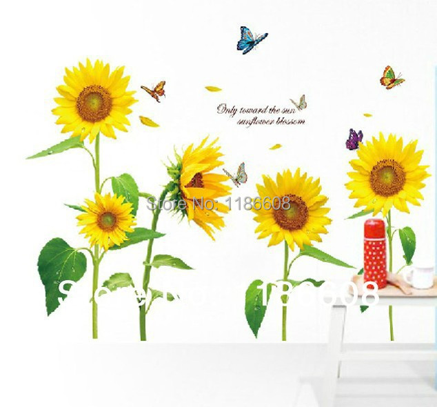 High quality!Stickers Wallpaper sunflower Children bedroom DIY ...
