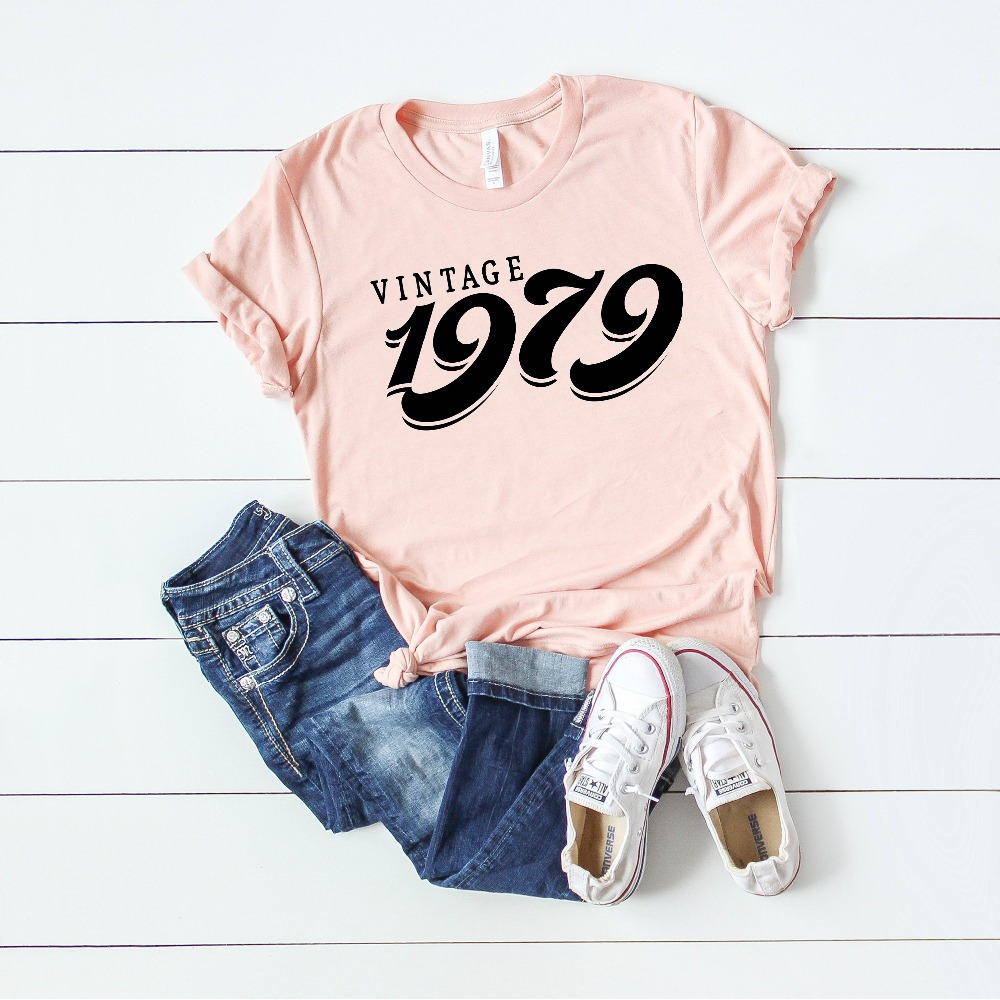 PADDY DESIGN 40th Birthday Party Vintage 1979 T Shirt Gift For Ladies Top Tee Letter Print New Fashion Short Sleeve In Shirts From Womens