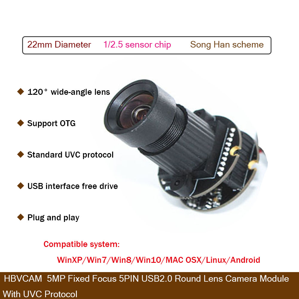 HBVCAM USB Camera Module 5MP Fixed Focus 5PIN USB2.0  Round Lens  Camera Module  With UVC Protocol-in Surveillance Cameras from Security & Protection    1
