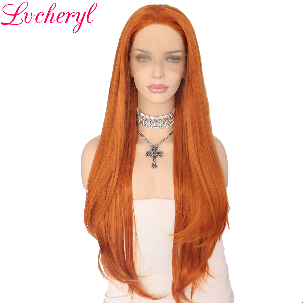 Lvcheryl Orange Hair Natural Hairline Natural Wavy Hand Tied Layered Heat Resistant Synthetic Front Lace Party