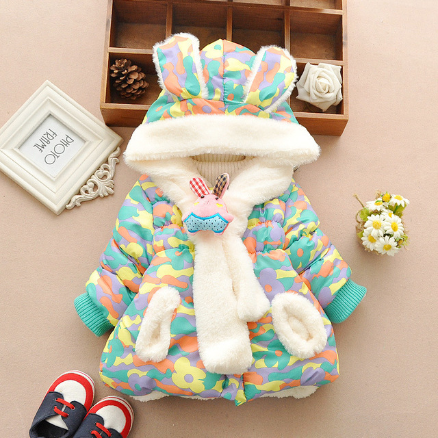 0f48338a8735 Cute Rabbit Baby Winter Jacket Thick Cotton Padded Baby Girl ...