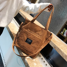 Women Corduroy Zipper Shoulder Bags New Female Artsy Handbags Tote Ladies Canvas Messenger Corssbody Bag Shopping Bag For Girls(China)