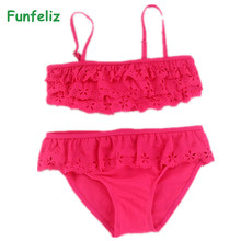 Funfeliz Children girl swimwear 3T-14T two pieces swimsuit pink bathing suit Girls Bikini kids swimming