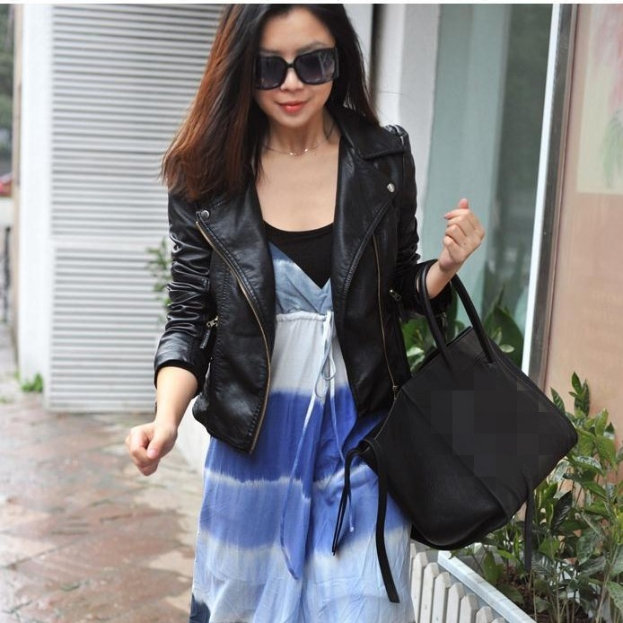 Female 2018 New Design Autumn Pu Leather Jackets Faux Soft Leather Coat Turn Down Collar Slim Black Zipper Motorcycle Jackets in Leather Jackets from Women 39 s Clothing