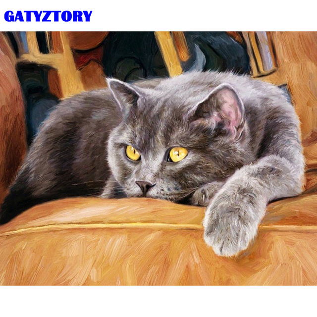 GATYZTORY Frame Cat Animals DIY Painting By Number Modern Wall Art Handpainted Oil Painting Acrylic Paint On Canvas 40x50cm Arts