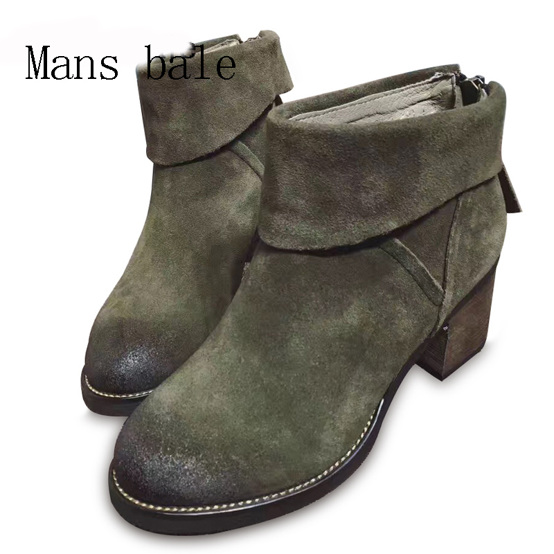 Cowhide Nubuck Women's Winter Ankle Boots Genuine Leather Thick High Heel 6.5cm Bottes Femmes 2016 Hiver winter 2014 british round solid leather thick follow with frosted leather ladies nubuck leather ankle boots