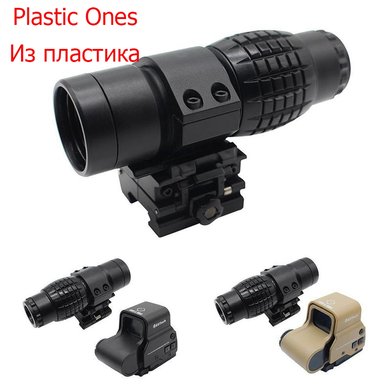 Plastic 3x Magnifier Riflescope Magnifying Hunting Scope For Riflescopes Mount Fits Holographic And Reflex Sight For Toy Gun