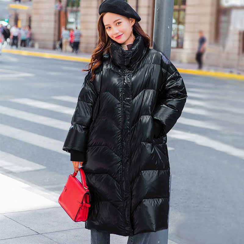 Зимний женский длинный пуховик, повседневные парки, пальто, белое утиное пальто 2019, женские модные куртки с высоким воротником, теплая верхняя одежда HS533