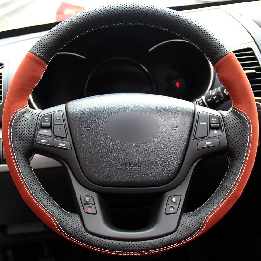 2014 Kia Cadenza Interior: Black Natural Leather Brown Suede Car Steering Wheel Cover