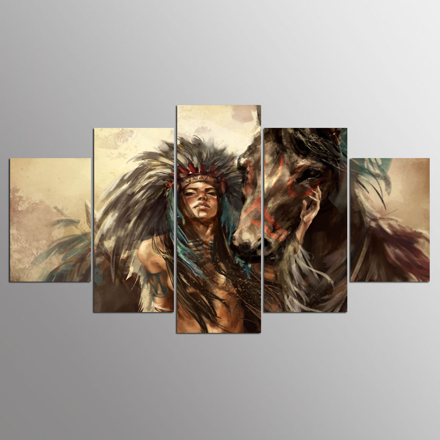 5-panel-hd-Native-American-girl-and-horse-Art-print-canvas-art-wall-framed-paintings-for (4)