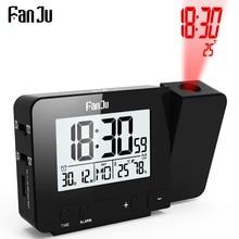 FanJu FJ3531B Проекционные Часы Настольный светодиодный цифровой Повтор будильника подсветка проектор часы с проекцией времени температура