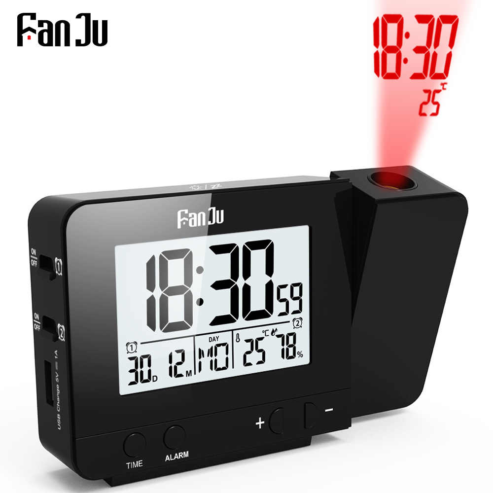 FanJu FJ3531B Projektion Uhr Schreibtisch Tisch Led Digital Snooze Alarm Hintergrundbeleuchtung Projektor Uhr Mit Zeit Temperatur Projektion