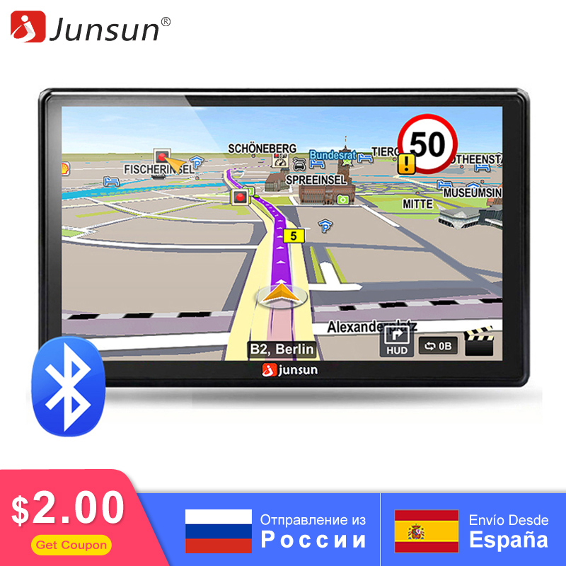 Junsun 7 inch D100 Car GPS Navigation FM Bluetooth AVIN 2018 Europe Map Free Upgrade Sat nav Automobile Gps Navigators(China)