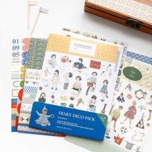 9Pcs Korea Cionic Kreatif Retro Kartun Stiker Anak Stiker Set Handbook Album Dekorasi Segar Cat Air Cute Diary(China)
