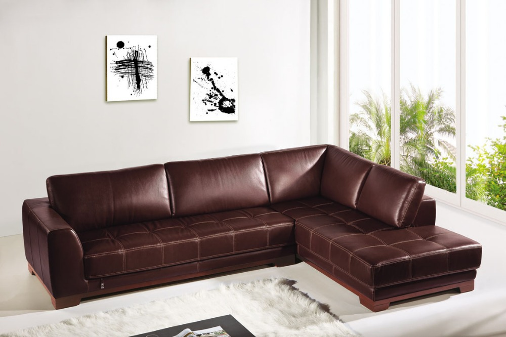 Corner genuine leather sofa set modern brown sofas and L ...