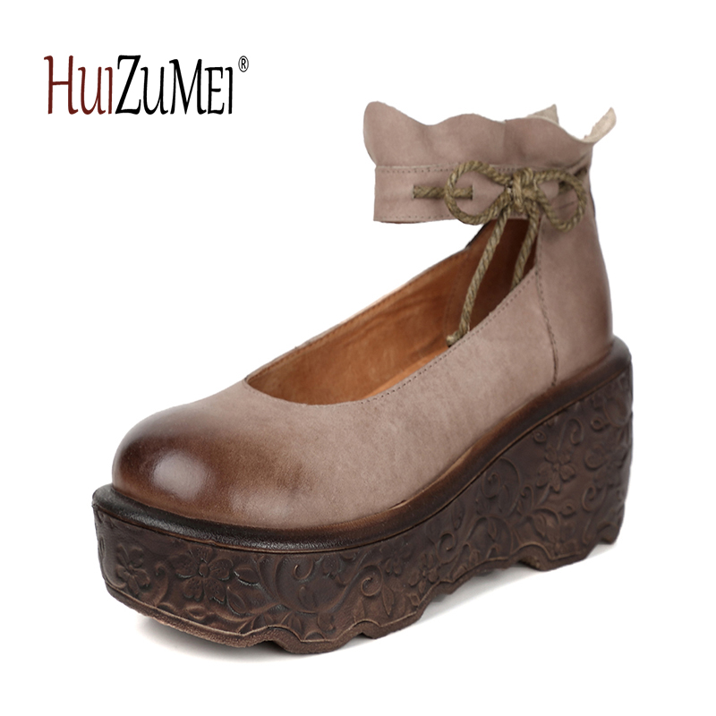 HUIZUMEI High heeled round toe women's handmade shoes natural casual retro Genuine leather women wedge heel shoes nayiduyun women genuine leather wedge high heel pumps platform creepers round toe slip on casual shoes boots wedge sneakers