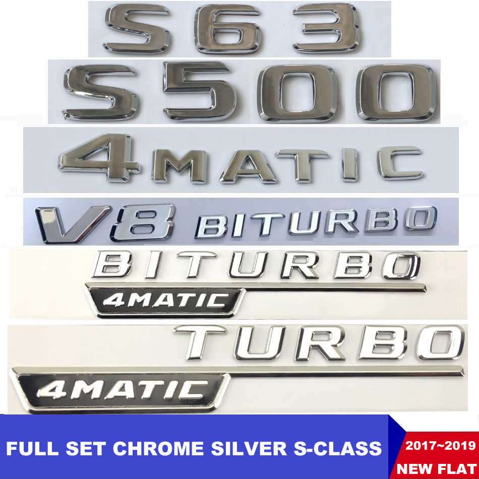 New Flat Chrome W221 W222 Emblem S63 S350 S500 S CLA Letter Auto Car Sticker Badge Star Logo Trunk Emblema For Mercedes Benz AMG
