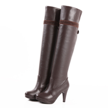 High long knee leather boots Big size 34-47
