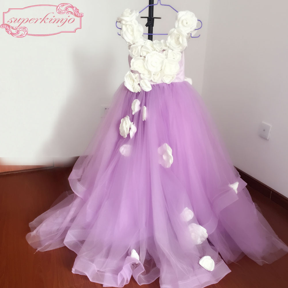 Purple Little   Girls   Party   Dresses   Floor Length Scoop Neckline Hand Made   Flowers   3D Purple Tulle   Flower     Girls  '   Dresses   Real