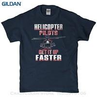 GILDAN Tshirt O-Collo Estate Uomini di Modo di Personalità T-Shirt-Piloti di Elicottero Ottenere Installato Più Veloce T Shirt