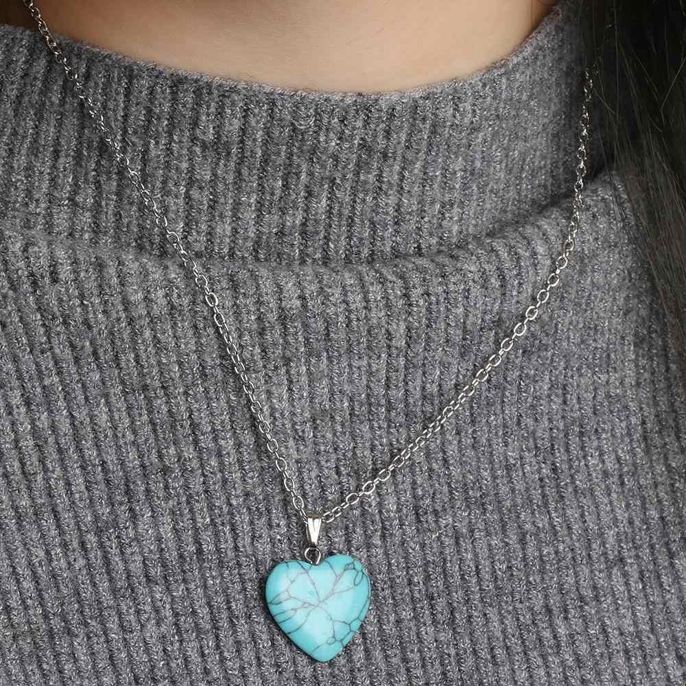 1Pc แฟชั่นหัวใจจี้สร้อยคอหินธรรมชาติคริสตัลควอตซ์คริสตัล Chakra จี้สร้อยคอผู้หญิงเครื่องประดับ
