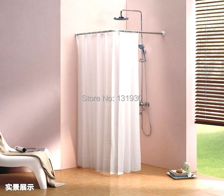Stainless Steel Shower Curtain Rod L Shape Shower Curtain Pole Easily Assemble Scp L In Shower