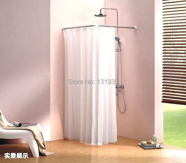 Stainless steel shower curtain rod L shape shower curtain pole ...