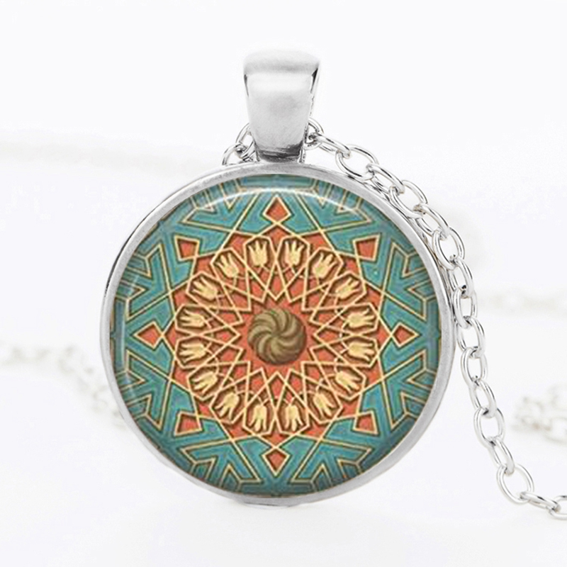 Suteyi Retro Henna Yoga Statement Necklace Mandala Flower Glass Dome