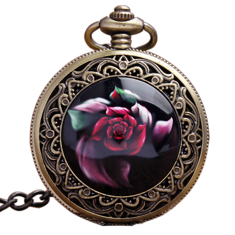 Vintage Rose Flower Carving Arabic Numerals Black Dial Quartz Pocket Watches With Pendant Necklace Chain Women Lady Girls Gifts