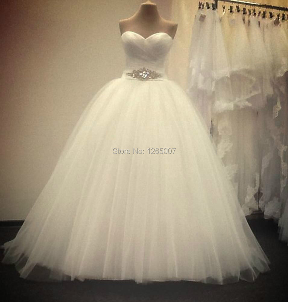 New Arrival Sweetheart Pleat Top Sparkly Beaded Puffy Tulle Ball Gown Wedding Dresses Vestido De Noiva 2016 Bridal