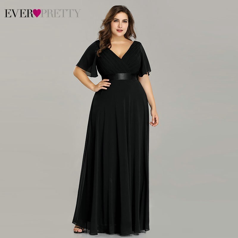 US $27.85 22% OFF|Plus Size Evening Dresses Ever Pretty EP09890 Elegant V  Neck Ruffles Chiffon Formal Evening Gown Party Dress Robe De Soiree 2019-in  ...