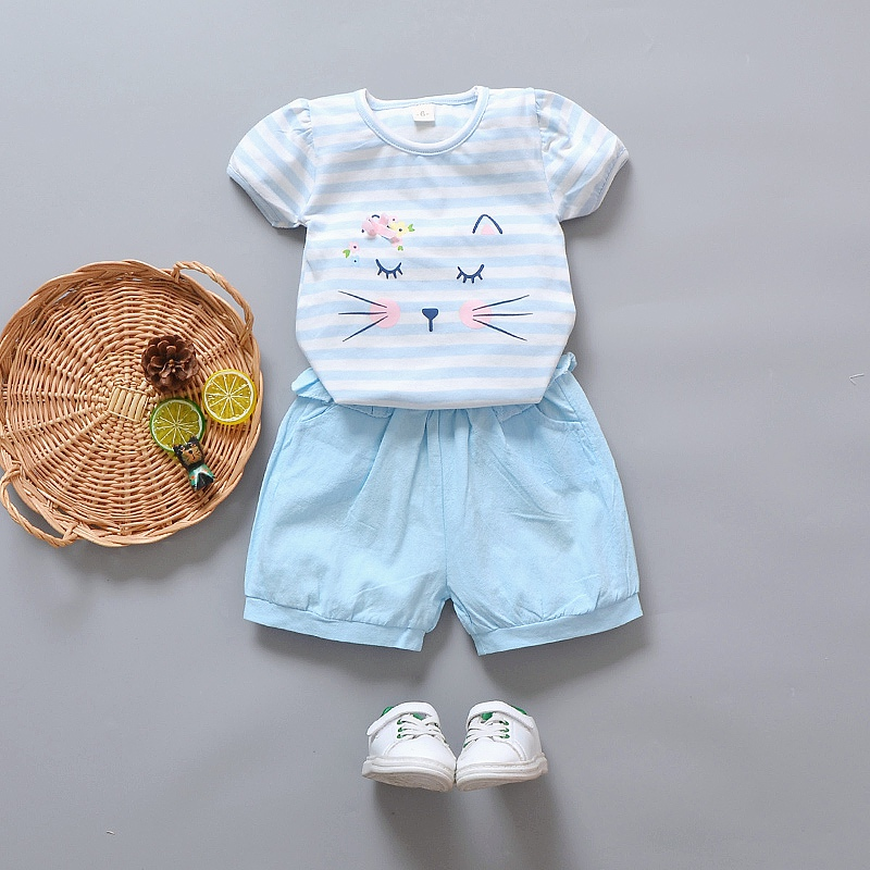2018 Summer Stripe T-shirt+Shorts 2pcs Girls Clothes Suit Cat Baby Girl Clothing Set Fashion Newborn Clothes Outfits
