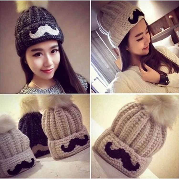 Child Knit Hat With Beard Pattern 2015