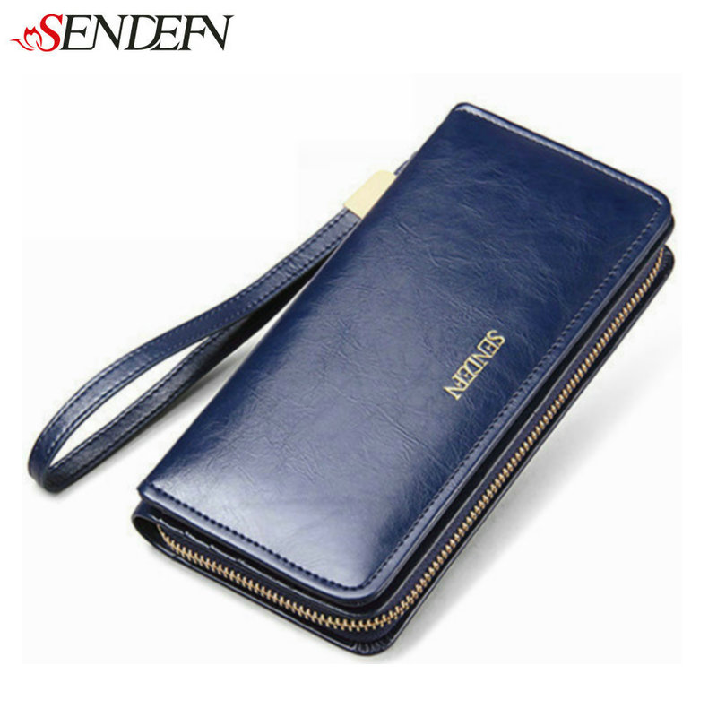 SENDEFN Oil Wax Cowhide Leather Wallet Women Clutch Credit Card Holder Coin Women's Purse Leather Wallet Woman Money Long Zipper 100% wax oil cowhide vintage wallets female money clips real leather clutch wallet for women credit cards change purses 2014 new
