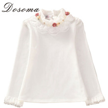 Cute Lace Children's T-Shirt 2016 Autumn 100% pure Cotton Kid's Render Shirt Baby Girls Clothing Soft Long Sleeve Tops 3-14Y