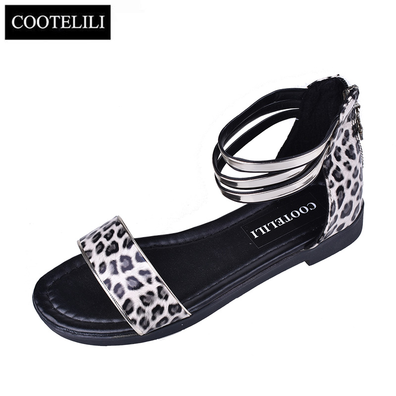 COOTELILI 35-39 Fashion Summer Casual Sandals Open Toe Flats Women Shoes Narrow Band Solid Zip Ladies Sandals Leopard Girls stylish solid color suede women s narrow feet pants
