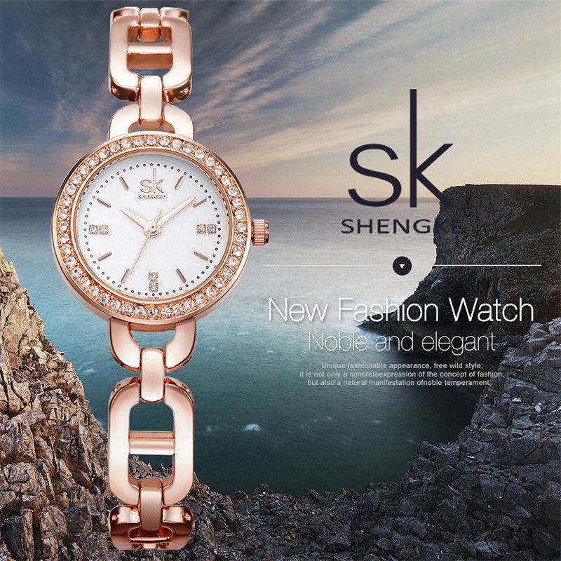 Shengke New Women Fashion Wrist Watch Diamond Golden Bracele