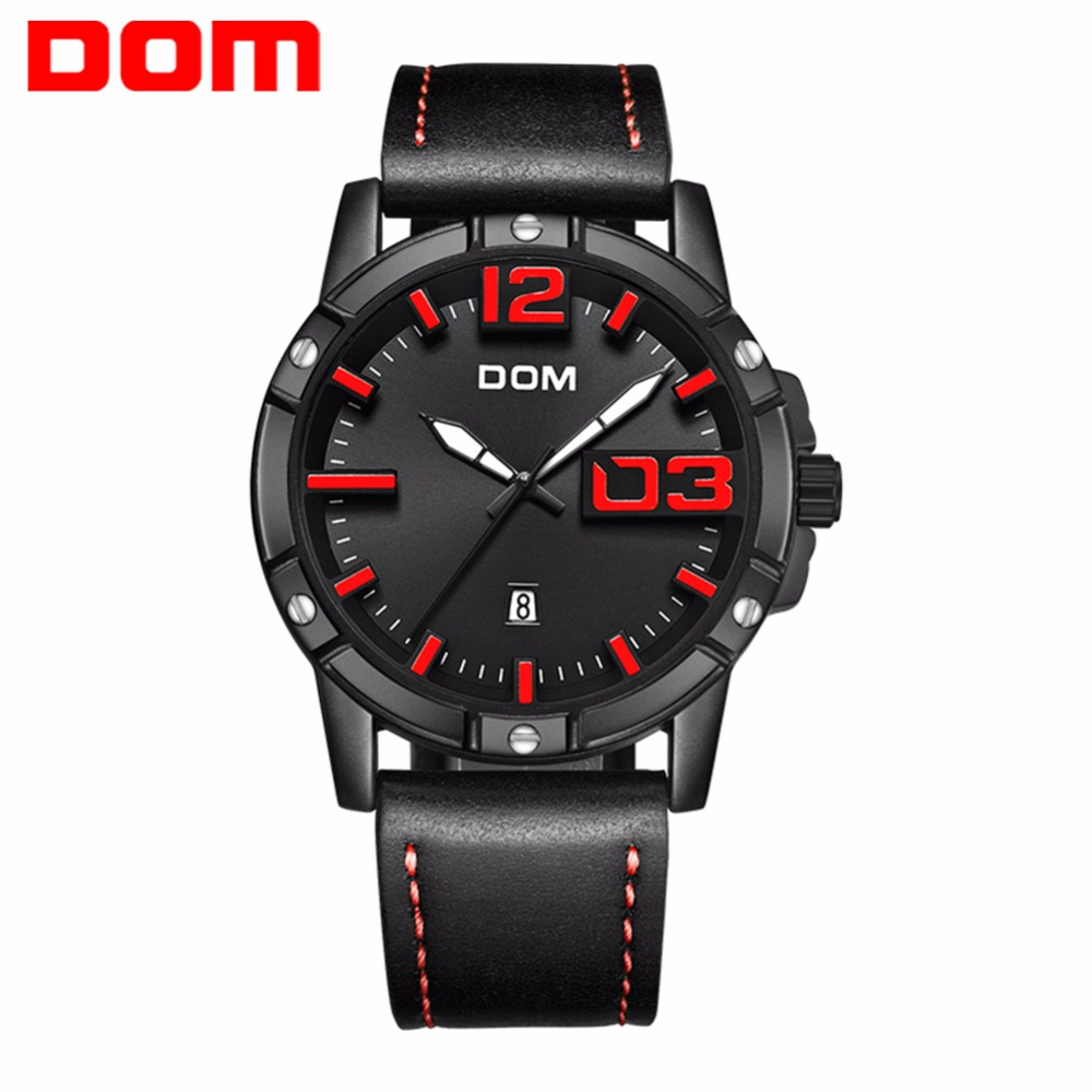 DOM Wristwatch Male Clock Quartz Watch Men Top Brand Luxury Famous WristWatch Business Waterproof Watch Relogio Masculino M-1218 dom leather men watch 2018 top brand luxury famous auto date wristwatch male clock waterproof quartz watch relogio masculino