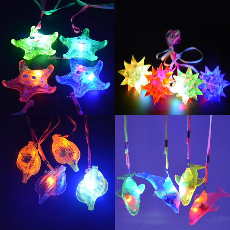 Jelly Star Heart Light Up LED Flashing Necklace Pendants Gift Rave Party Gift Glow Necklace Wedding Decoration  Glow Party Gift