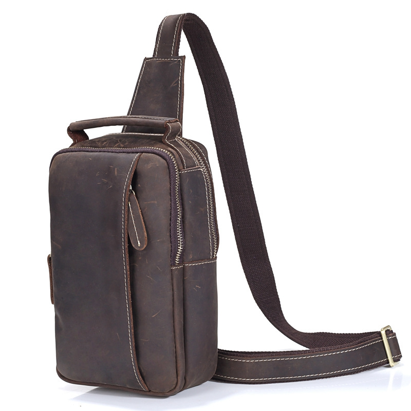 2017 New Arrival Fashion Genuine Leather Chest Pack Brand Design Casual Men Messenger Bags Vintage Small Shoulder Bags bolsos hot 2017 new arrival fashion leather men messenger bags high quality casual small chest packs vintage brown shoulder bags bolsos