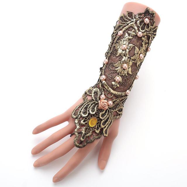 Vintage Gothic Queen Golden Lace Gloves Medieval Victorian Armband Cosplay Accessory Sexy Hollow Out pearl Costumes Accessories
