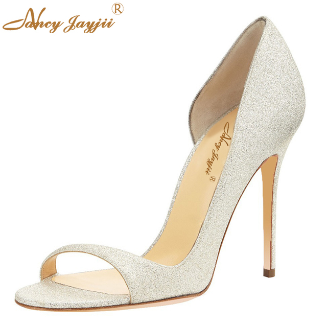 Silver Elegant Glitter Satin Sandals Open Toe 10cm Thin High Heels Adhesive Slipper Wedding&Party&Dress Woman Shoes Nancyjayjii